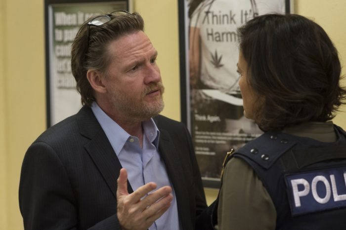 """LAW & ORDER: SPECIAL VICTIMS UNIT -- """"Beast's Obsession"""" Episode 1520 -- Pictured: (l-r) Donal Logue as Lt. Declan Murphy, Mariska Hargitay as Sgt. Olivia Benson"""