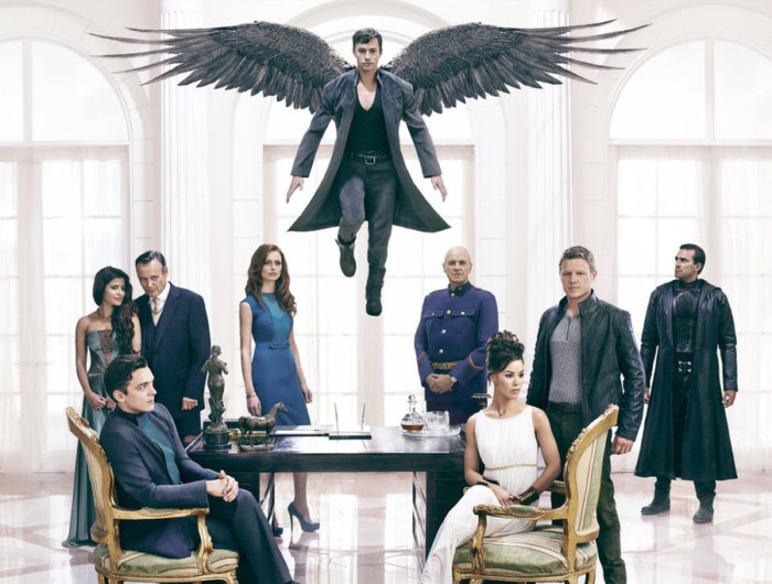 Dominion Review Syfy - Pictured: (back l-r) Shivani Ghai as Arika, Anthony Stewart Head as Senator David Whele, Rosalind Halstead as Senator Becca Thorn, Alan Dale as General Riesen, Carl Beukes as Archangel Gabriel; (front l-r) Luke Allen-Gale as William Whele, Roxanne McKee as Claire Riesen, Christopher Egan as Alex Lannon; (center top) Tom Wisdom as Archangel Michael
