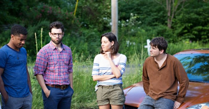 Nate Parker, Max Greenfield, Aubrey Plaza and Jason Ritter in Jesse Zwick's ABOUT ALEX