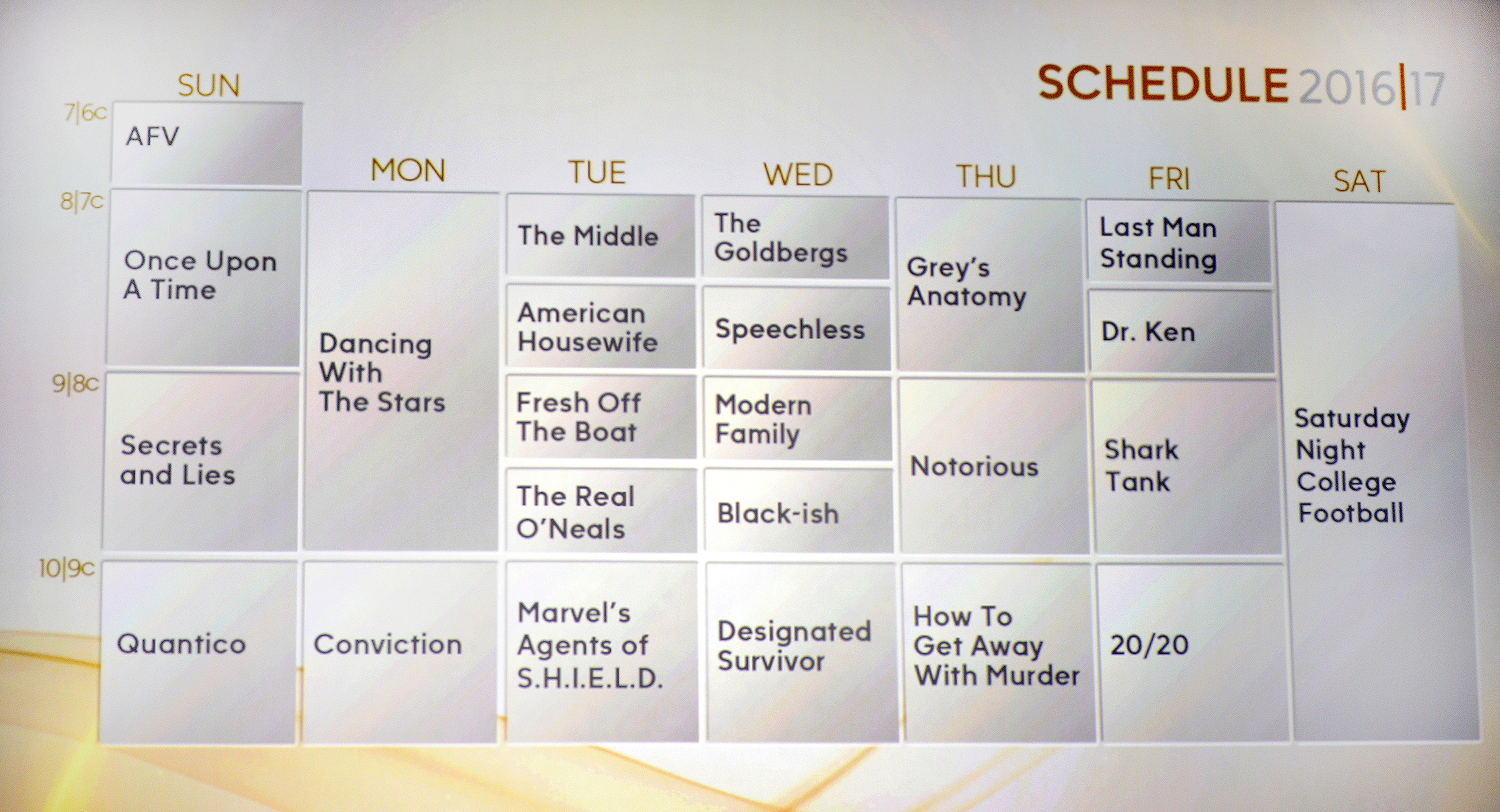 ABC Fall Schedule