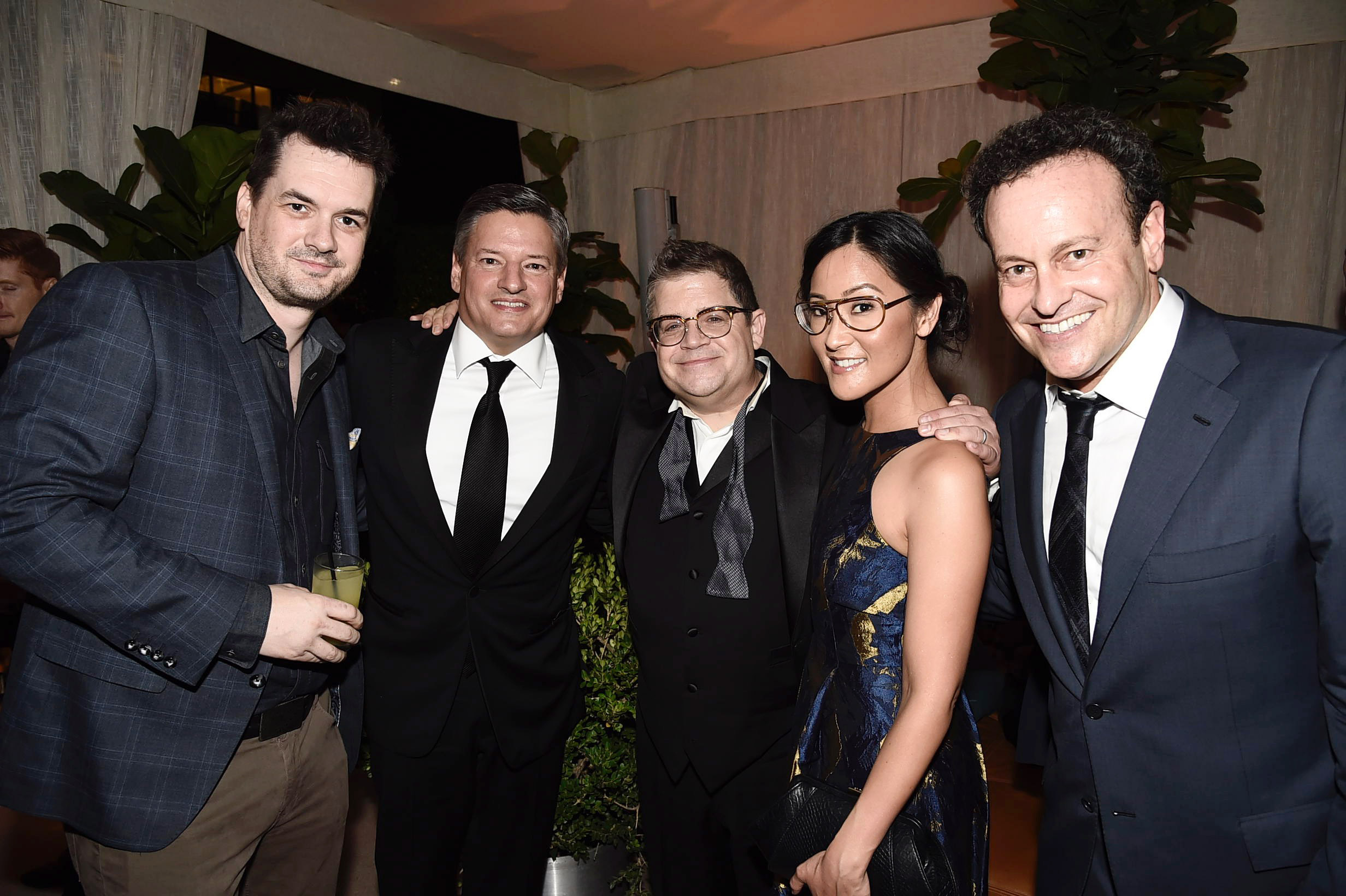 Jim Jefferies, Netflix Chief Content Officer Ted Sarandos, Patton Oswalt, Lisa Nishimura, Netflix VP of Original Documentary and Comedy, and Mitchell Hurwitz seen at Netflix 2016 Emmy Party at NeueHouse on Sunday, Sept. 18, 2016, in Los Angeles.