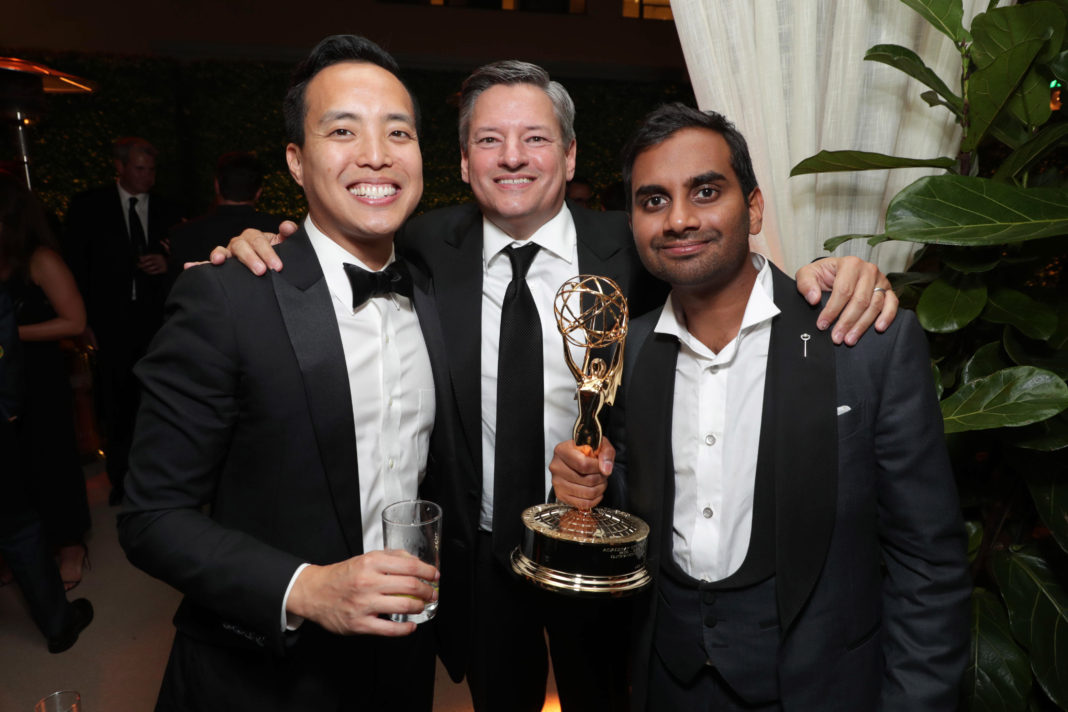Alan Yang, Netflix Chief Content Officer Ted Sarandos and Aziz Ansari seen at Netflix 2016 Emmy Party at NeueHouse on Sunday, Sept. 18, 2016, in Los Angeles.