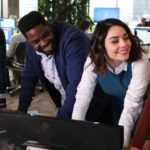 "POWERLESS -- ""Wayne Dream Team"" Episode 103 -- Pictured: (l-r) Jennie Pierson as Wendy, Ron Funches as Ron, Vanessa Hudgens as Emily, Danny Pudi as Teddy"