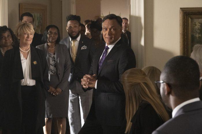"BLUFF CITY LAW -- ""Pilot"" Episode 101 -- Pictured: (l-r) Jayne Atkinson as Della Bedford, Jimmy Smits as Elijah Strait"