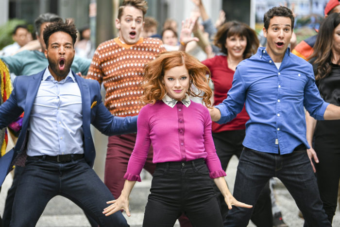 """ZOEY'S EXTRAORDINARY PLAYLIST -- """"I've Got The Music In Me"""" Episode 102 -- Pictured: (l-r) Skylar Astin as Max; Jane Levy as Zoey Clarke; John Clarence Stewart as Simon"""